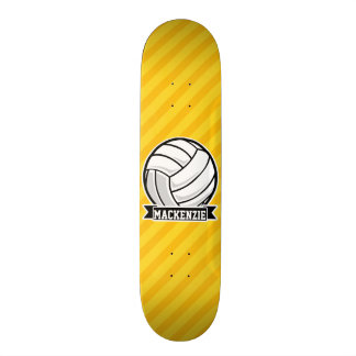 Volleyball sur les rayures jaunes skateboard old school  21,6 cm
