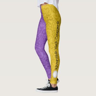 volleyball team name pattern purple gold leggings