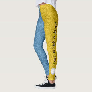 volleyball team name patterned blue gold leggings