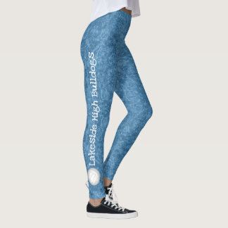 volleyball team name patterned blue leggings