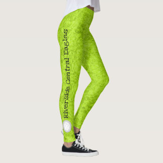 volleyball team name patterned chartreuse leggings