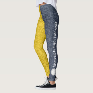 volleyball team name patterned dark blue gold leggings