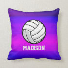 Volleyball; Vibrant Violet Blue and Magenta Throw Pillow