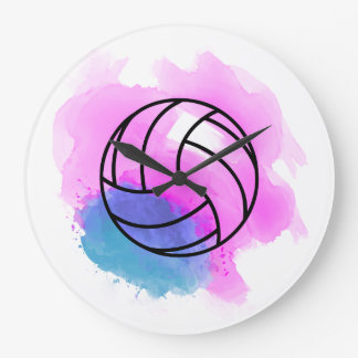 Volleyball Watercolor Large Clock
