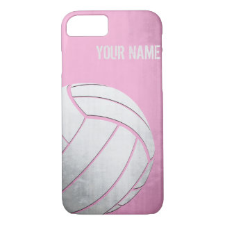 Volleyball with Grunge effect Pink Shade iPhone 7 Case