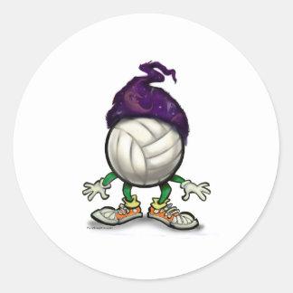Volleyball Wizard Round Sticker