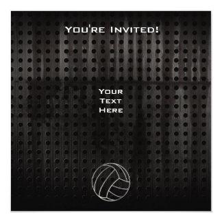 """Volleyballl; Cool Black 5.25"""" Square Invitation Card"""
