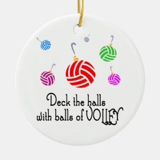 VolleyChick Deck the Halls Round Ceramic Ornament