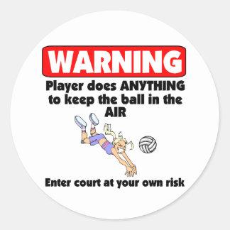 VolleyChick Warning Classic Round Sticker