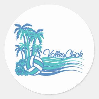 VolleyChickWaver Classic Round Sticker