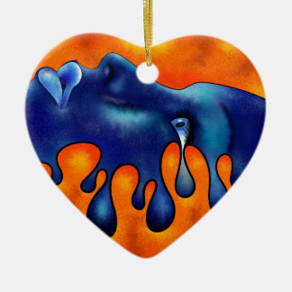 Volsiphina V1 - dropping face Ceramic Heart Ornament