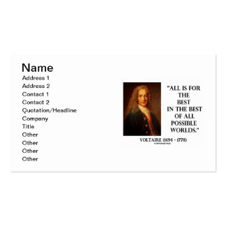 Voltaire All For The Best Best Of All Worlds Quote Business Card Templates