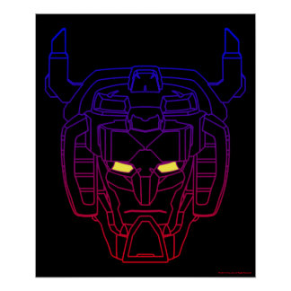 Voltron | Blue-Red Gradient Head Outline Poster