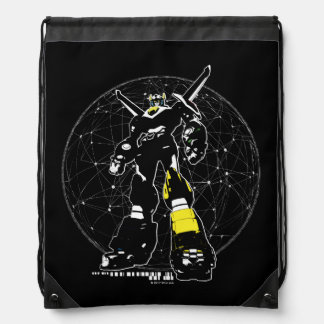 Voltron   Silhouette Over Map Drawstring Bag