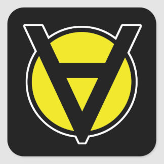 Voluntaryism Square Sticker - Anarchy Yellow