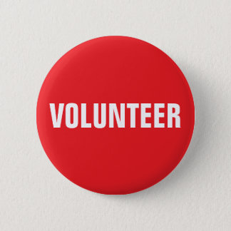 Volunteer button - red and white