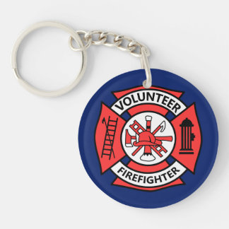 Volunteer Fire Fighter Double-Sided Round Acrylic Keychain