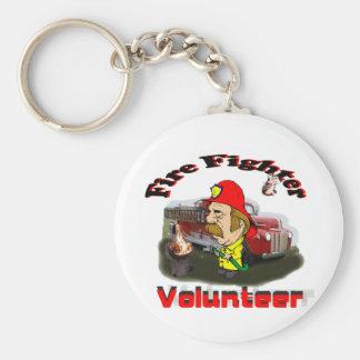 Volunteer Fire Fighters Basic Round Button Keychain