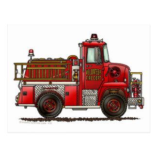 Volunteer Fire Truck Firefighter Postcard