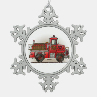 Volunteer Fire Truck Pewter Snowflake Ornament