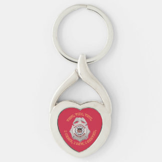 Volunteer Firefighter Badge Silver-Colored Twisted Heart Keychain