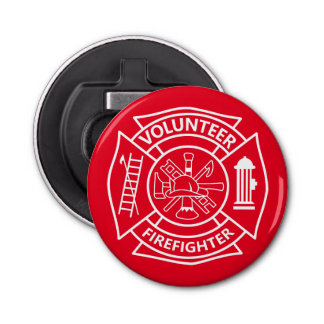 Volunteer Firefighter Button Bottle Opener