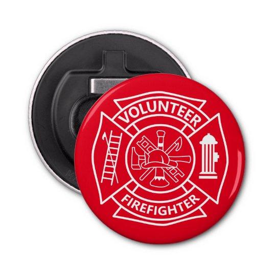 Volunteer Firefighter Button Bottle Opener