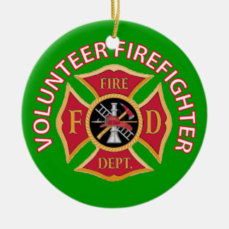 Volunteer Firefighter Custom Ceramic Ornament