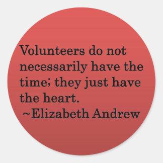 Volunteer Heart Round Sticker