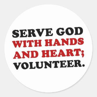 Volunteer Serve God with Hands & Heart (2) Round Sticker