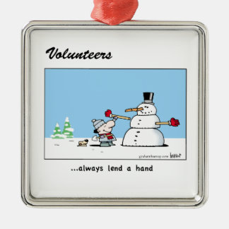 Volunteers always lend a hand! Silver-Colored square ornament