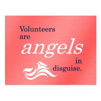 Volunteers are heavenly angels in disguise postcard