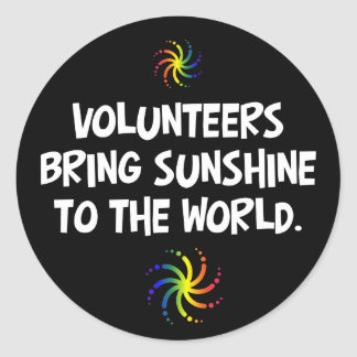 Volunteers bring sunshine to the world round sticker