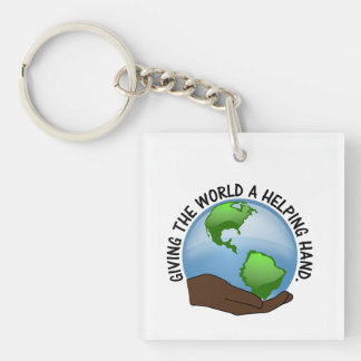 Volunteers give the world a helping hand acrylic keychains
