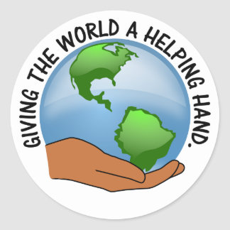 Volunteers give the world a helping hand round sticker
