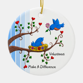 Volunteers Make A Difference Round Ceramic Ornament
