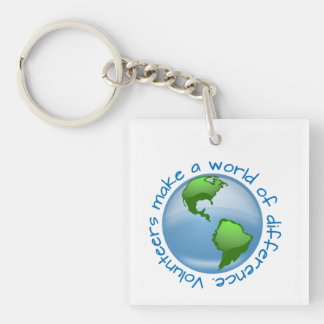 Volunteers make a world of difference Single-Sided square acrylic keychain