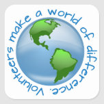 Volunteers Make a World of Difference Square Sticker