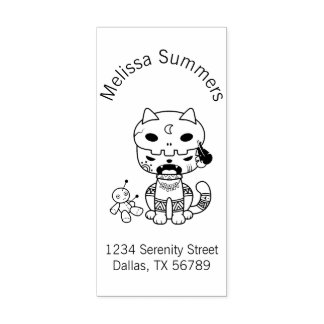 Voodoo Doll Cat Address Rubber Stamp