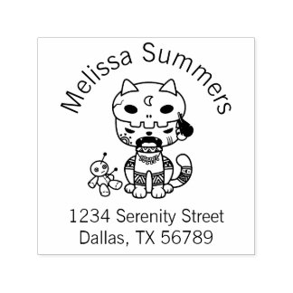 Voodoo Doll Cat Address Self-inking Stamp