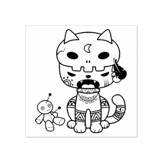 Voodoo Doll Cat Rubber Stamp