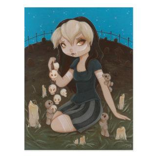 Voodoo GOTH girl skull Postcard