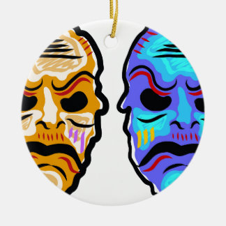 Voodoo Mask Sketch Ceramic Ornament