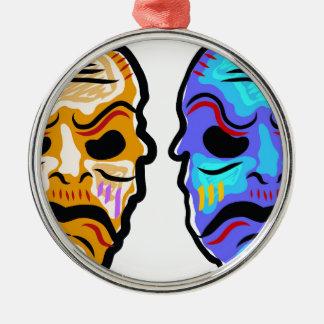 Voodoo Mask Sketch Metal Ornament