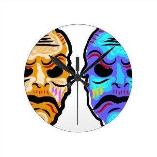 Voodoo Mask Sketch Round Clock