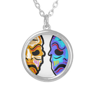 Voodoo Mask Sketch Silver Plated Necklace