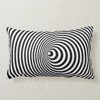 Vortex, optical illusion black and white lumbar pillow