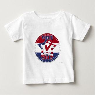 VOTE 2012 Star, US Flag, Red Check, 50 Stars round Baby T-Shirt