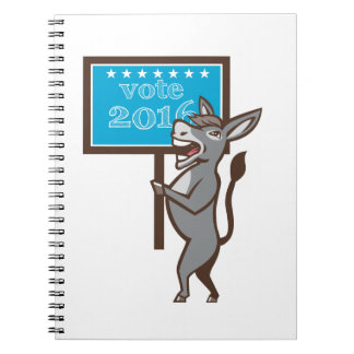 Vote 2016 Democrat Donkey Mascot Cartoon Notebook