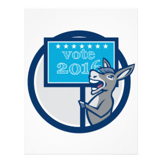 Vote 2016 Democrat Donkey Mascot Cartoon Personalized Letterhead